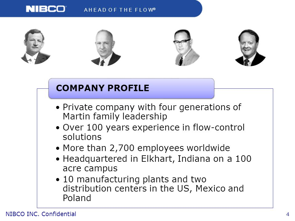 COMPANY PROFILE Private company with four generations of Martin family leadership. Over 100 years experience in flow-control solutions.