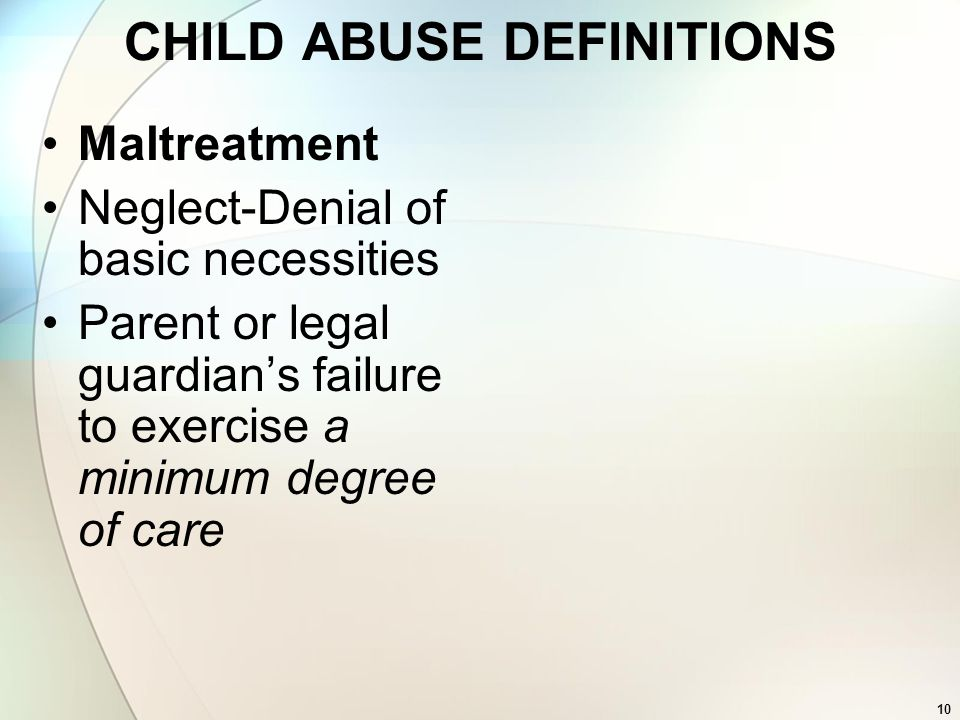CHILD ABUSE DEFINITIONS