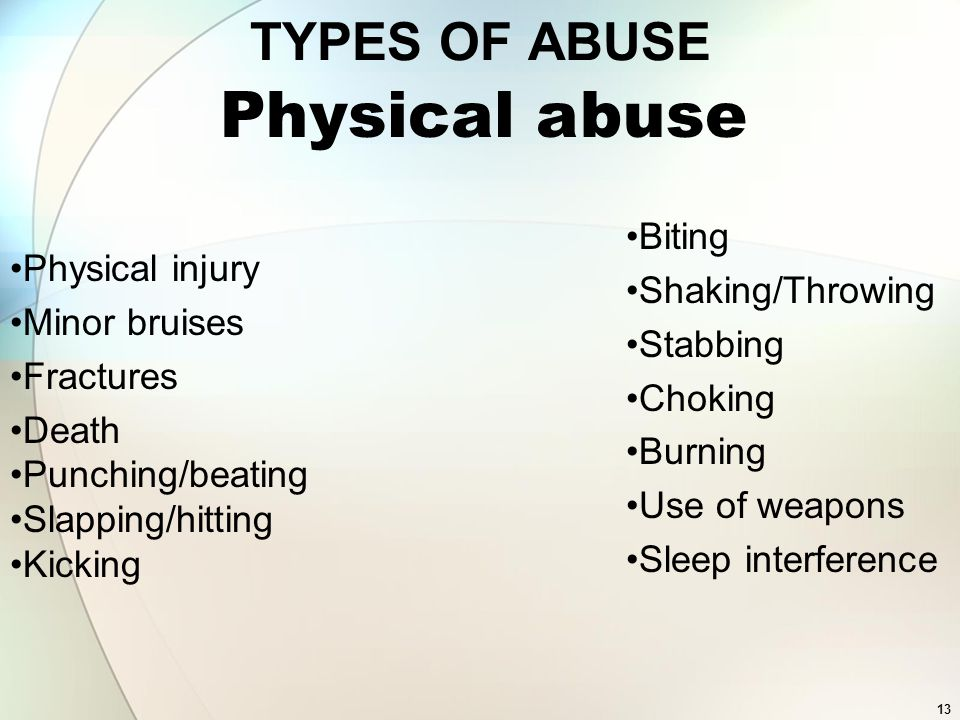 Physical abuse TYPES OF ABUSE Biting Shaking/Throwing Physical injury