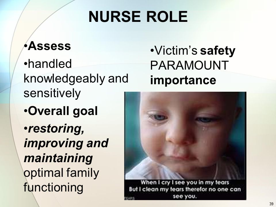 NURSE ROLE Assess Victim's safety PARAMOUNT importance