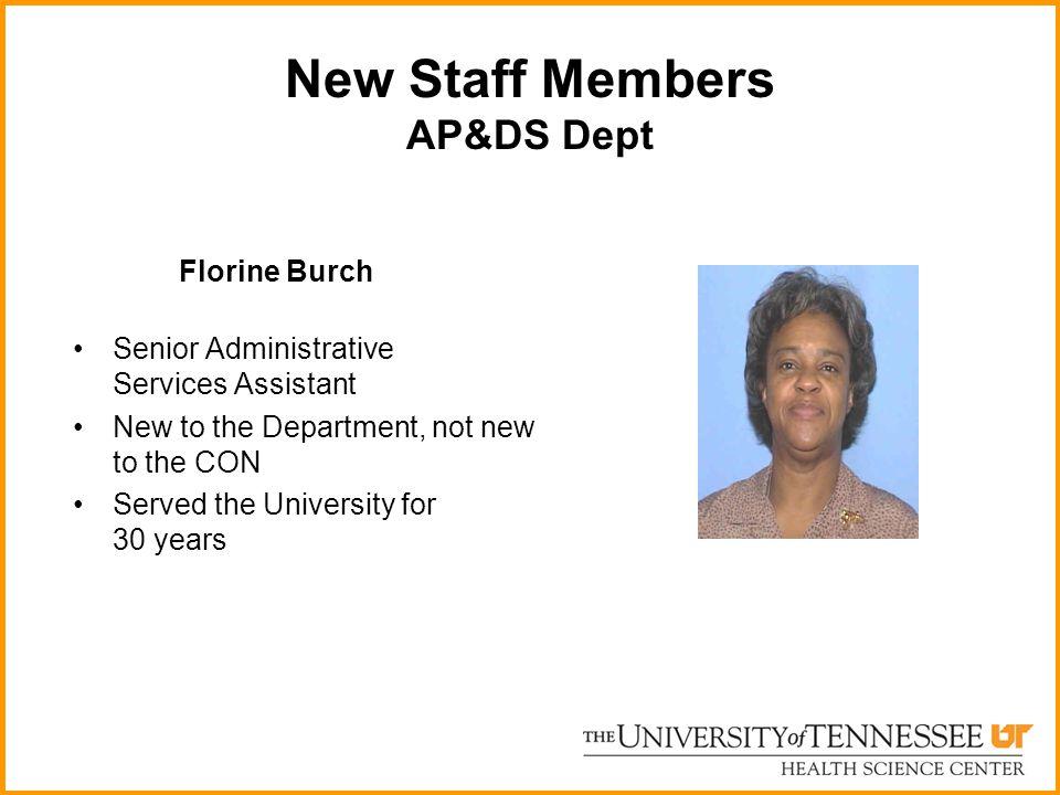New Staff Members AP&DS Dept