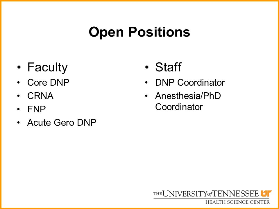 Open Positions Faculty Staff Core DNP CRNA FNP Acute Gero DNP