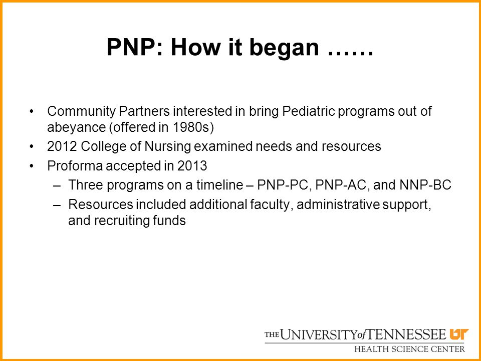 PNP: How it began …… Community Partners interested in bring Pediatric programs out of abeyance (offered in 1980s)