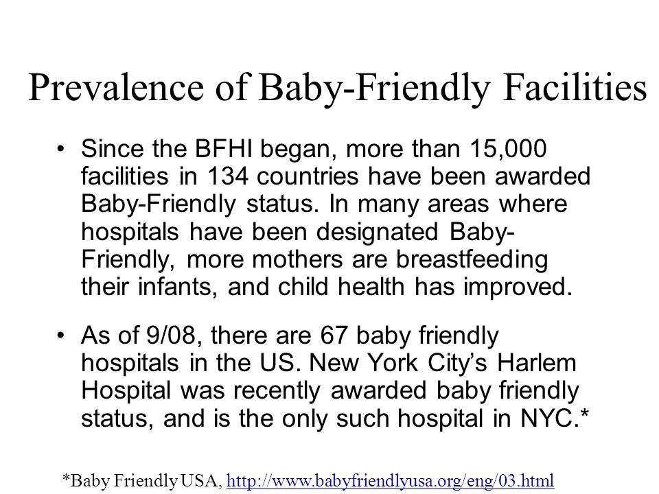 Prevalence of Baby-Friendly Facilities