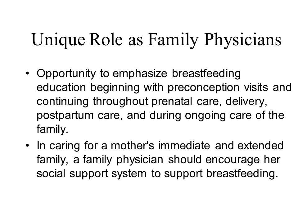 Unique Role as Family Physicians