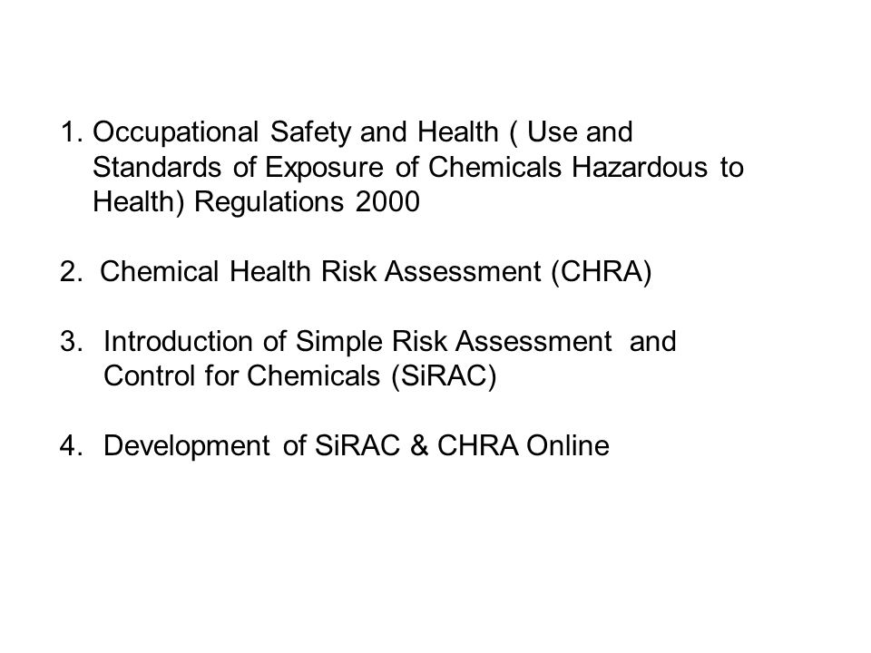 Occupational Safety and Health ( Use and Standards of Exposure of Chemicals Hazardous to Health) Regulations 2000