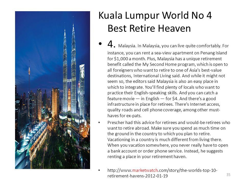 Kuala Lumpur World No 4 Best Retire Heaven