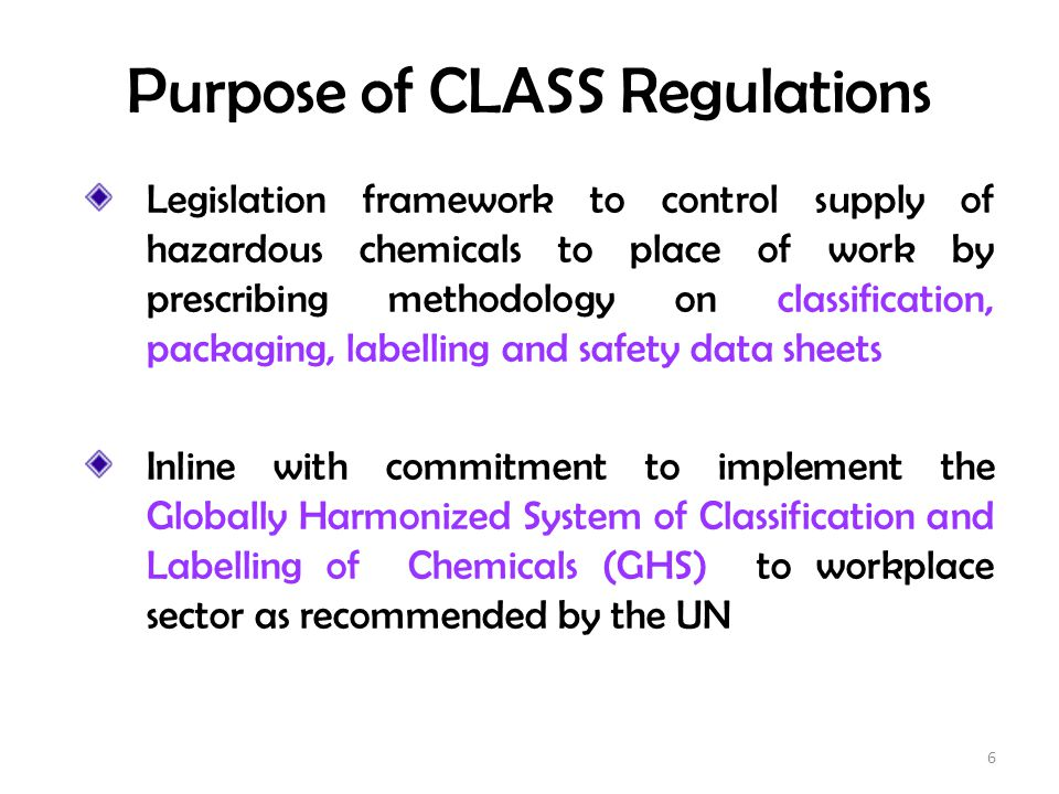 Purpose of CLASS Regulations
