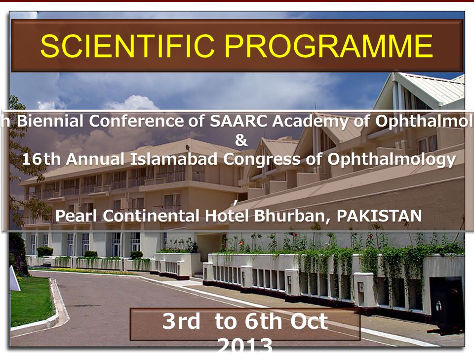 SCIENTIFIC PROGRAMME 3rd to 6th Oct 2013