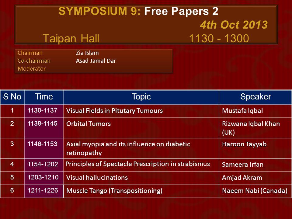SYMPOSIUM 9: Free Papers 2 4th Oct 2013 Taipan Hall 1130 - 1300