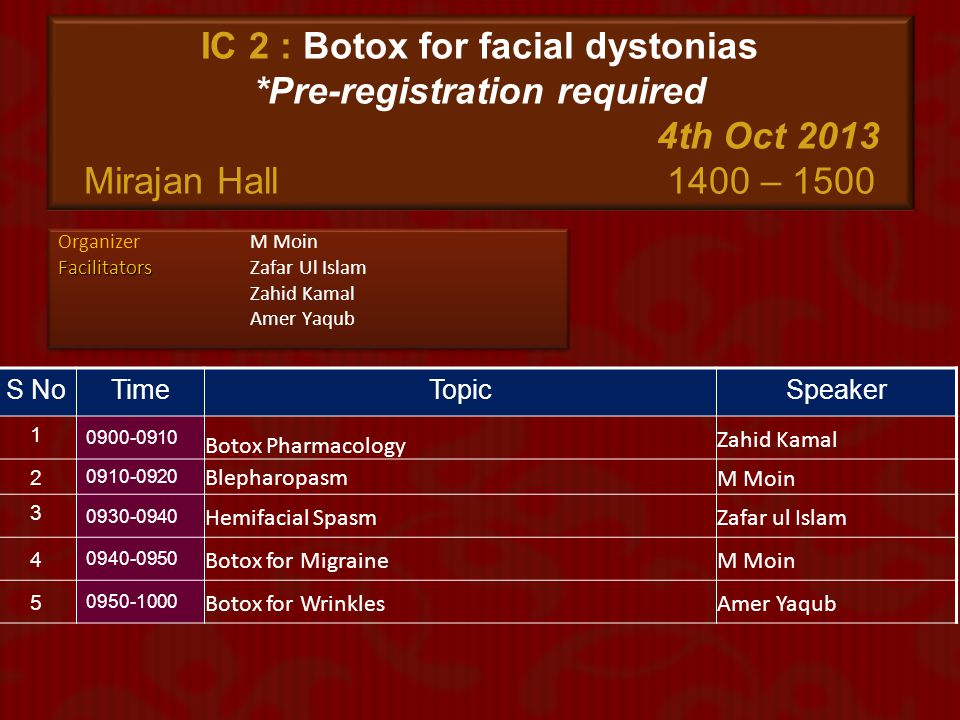IC 2 : Botox for facial dystonias. Pre-registration required