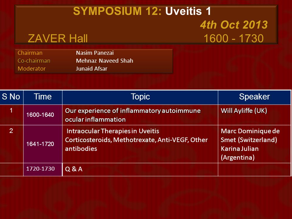 SYMPOSIUM 12: Uveitis 1 4th Oct 2013 ZAVER Hall 1600 - 1730