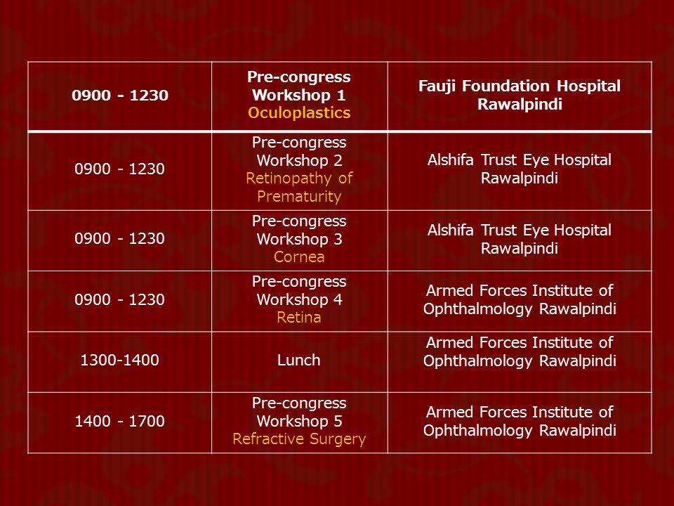Pre-congress Workshop 1 Fauji Foundation Hospital Rawalpindi