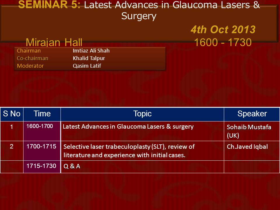SEMINAR 5: Latest Advances in Glaucoma Lasers & Surgery