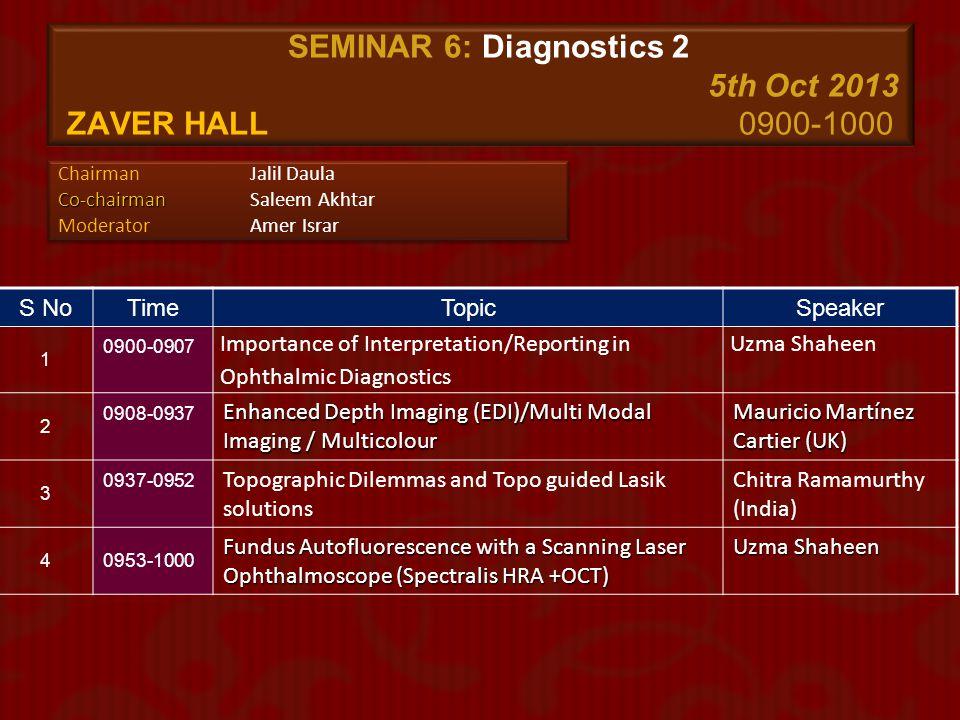 SEMINAR 6: Diagnostics 2 5th Oct 2013 zaver Hall 0900-1000