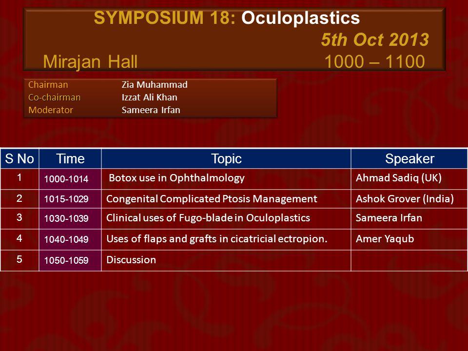 SYMPOSIUM 18: Oculoplastics 5th Oct 2013 Mirajan Hall 1000 – 1100