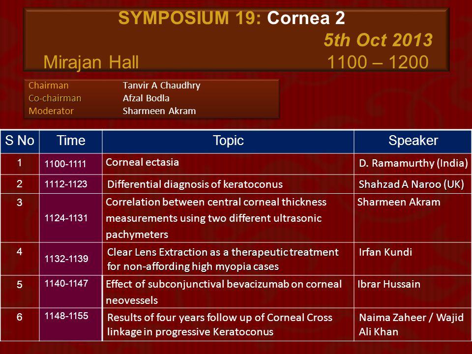 SYMPOSIUM 19: Cornea 2 5th Oct 2013 Mirajan Hall 1100 – 1200