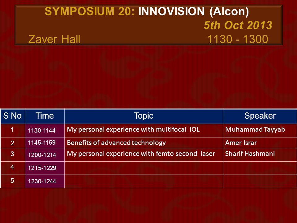 SYMPOSIUM 20: INNOVISION (Alcon) 5th Oct 2013 Zaver Hall 1130 - 1300