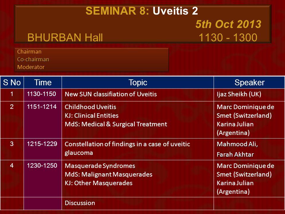 SEMINAR 8: Uveitis 2 5th Oct 2013 BHURBAN Hall 1130 - 1300