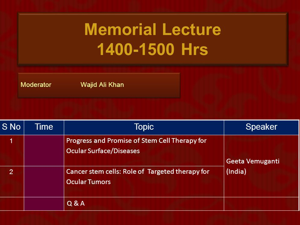 Memorial Lecture 1400-1500 Hrs S No Time Topic Speaker