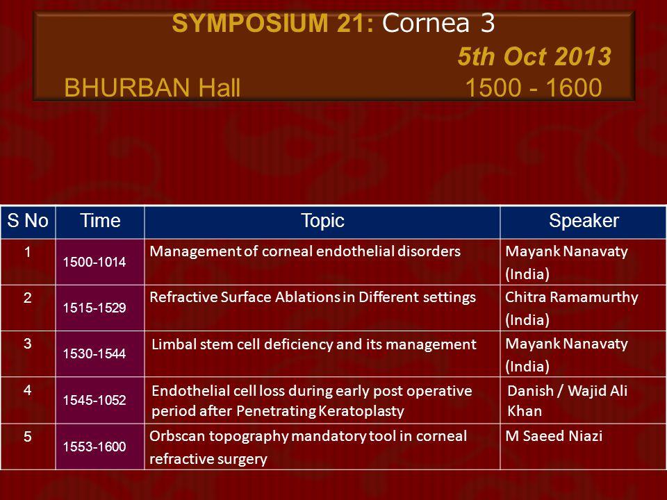 SYMPOSIUM 21: Cornea 3 5th Oct 2013 BHURBAN Hall 1500 - 1600
