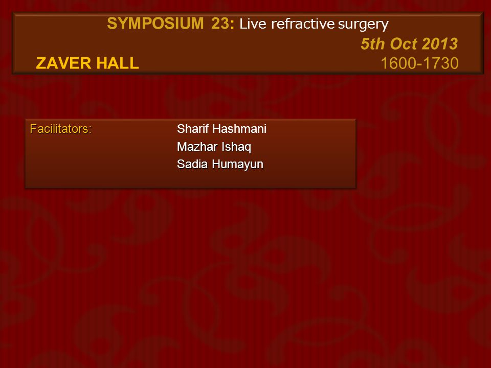 SYMPOSIUM 23: Live refractive surgery. 5th Oct 2013 ZAVER Hall