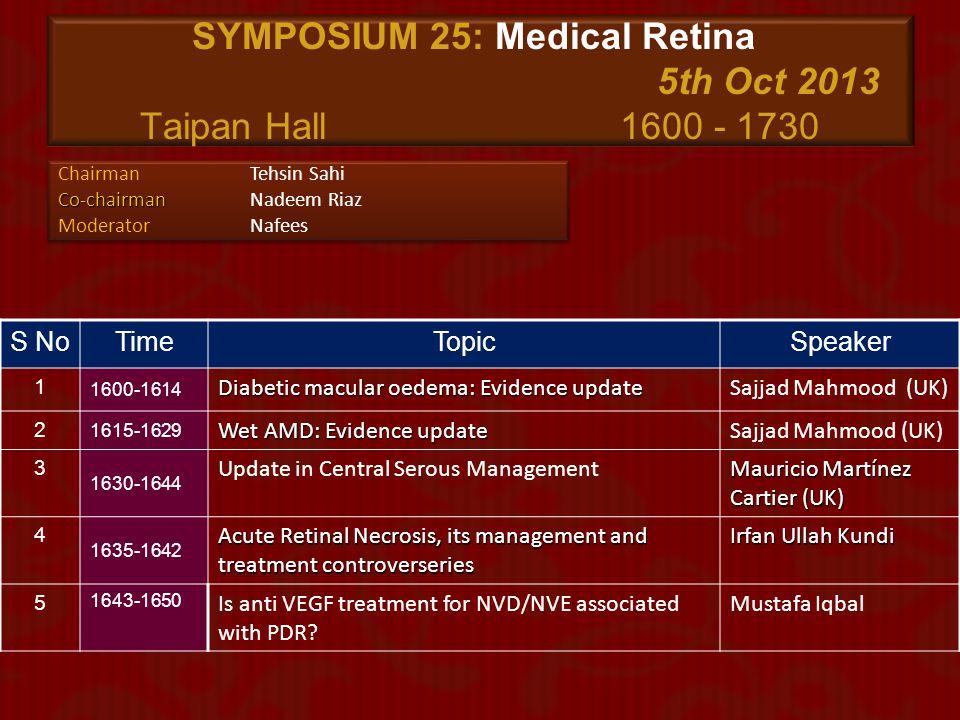 SYMPOSIUM 25: Medical Retina 5th Oct 2013 Taipan Hall 1600 - 1730