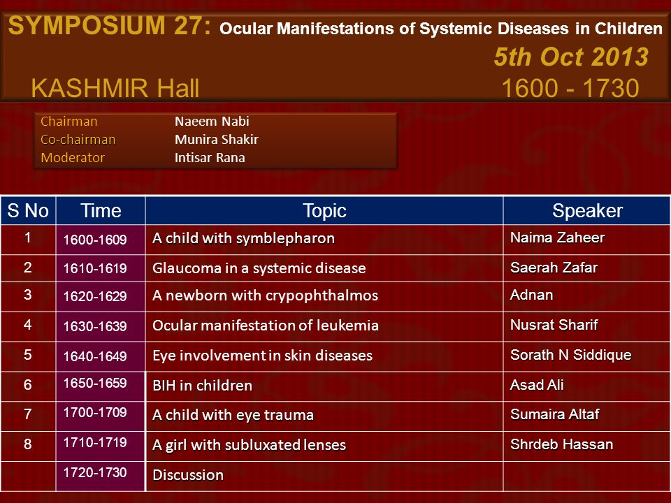 SYMPOSIUM 27: Ocular Manifestations of Systemic Diseases in Children