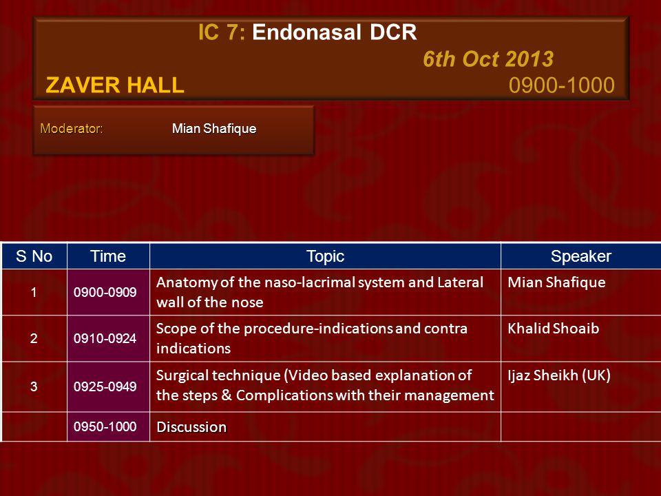 IC 7: Endonasal DCR 6th Oct 2013 zaver Hall 0900-1000