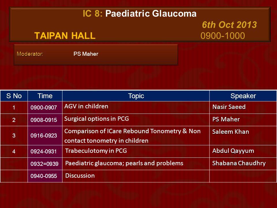 IC 8: Paediatric Glaucoma 6th Oct 2013 Taipan Hall 0900-1000