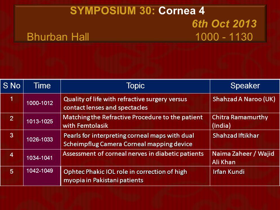 SYMPOSIUM 30: Cornea 4 6th Oct 2013 Bhurban Hall 1000 - 1130