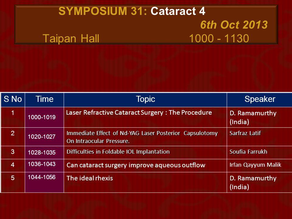 SYMPOSIUM 31: Cataract 4 6th Oct 2013 Taipan Hall 1000 - 1130