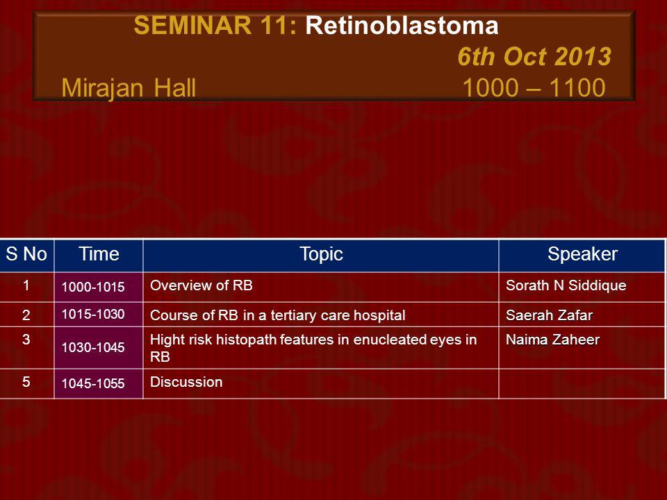 SEMINAR 11: Retinoblastoma 6th Oct 2013 Mirajan Hall 1000 – 1100
