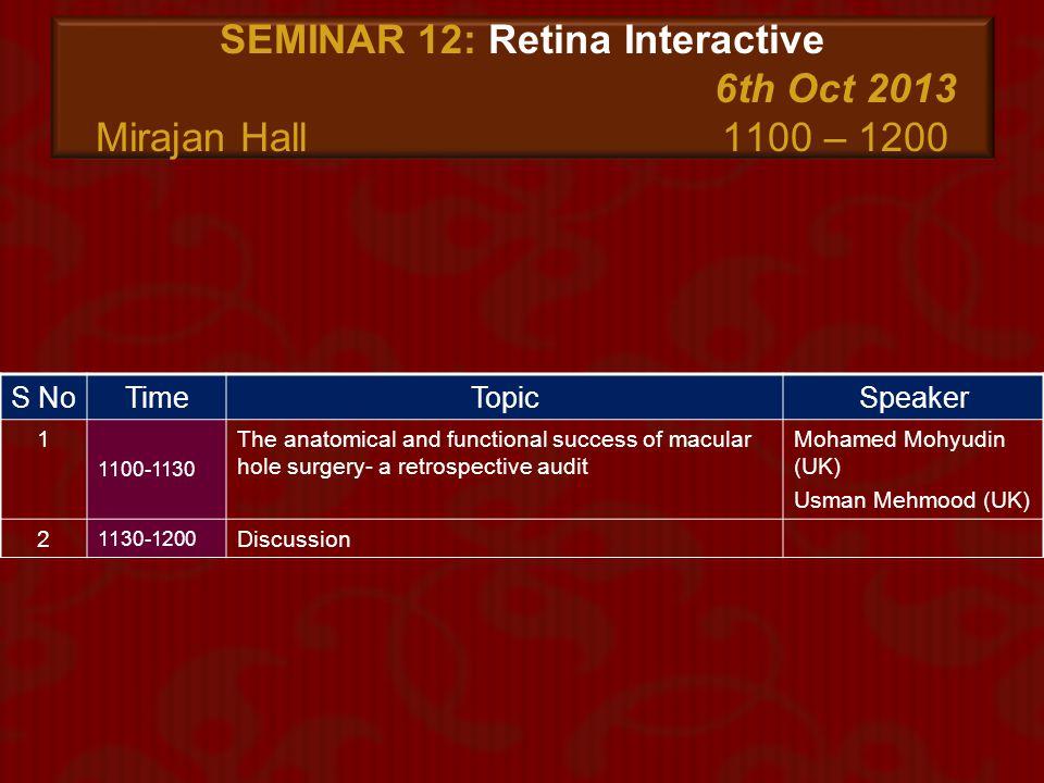 SEMINAR 12: Retina Interactive 6th Oct 2013 Mirajan Hall 1100 – 1200