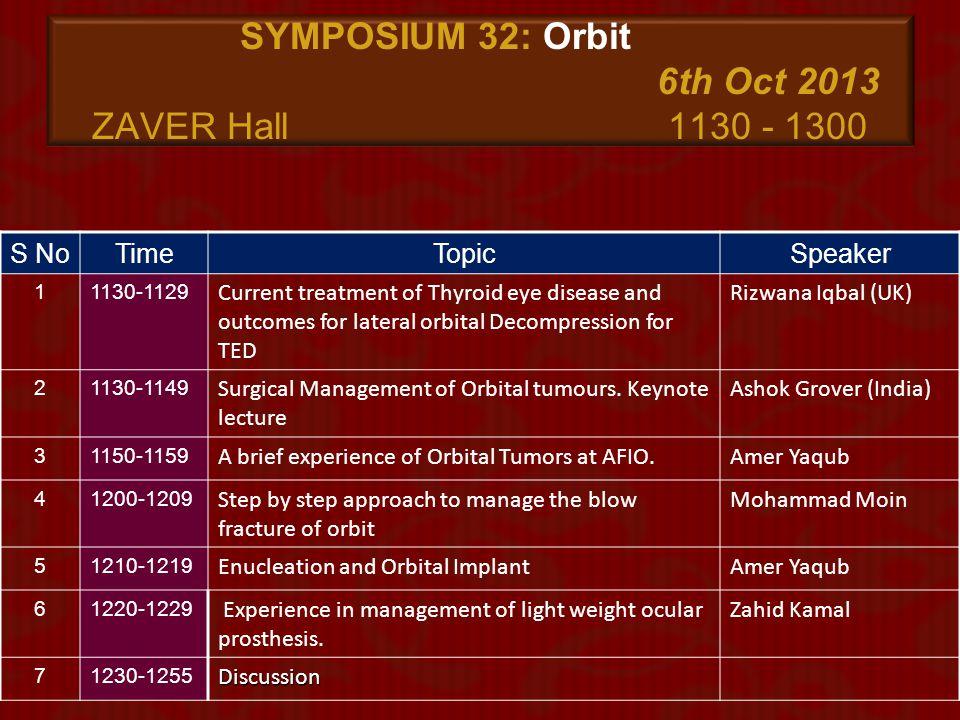 SYMPOSIUM 32: Orbit 6th Oct 2013 ZAVER Hall 1130 - 1300