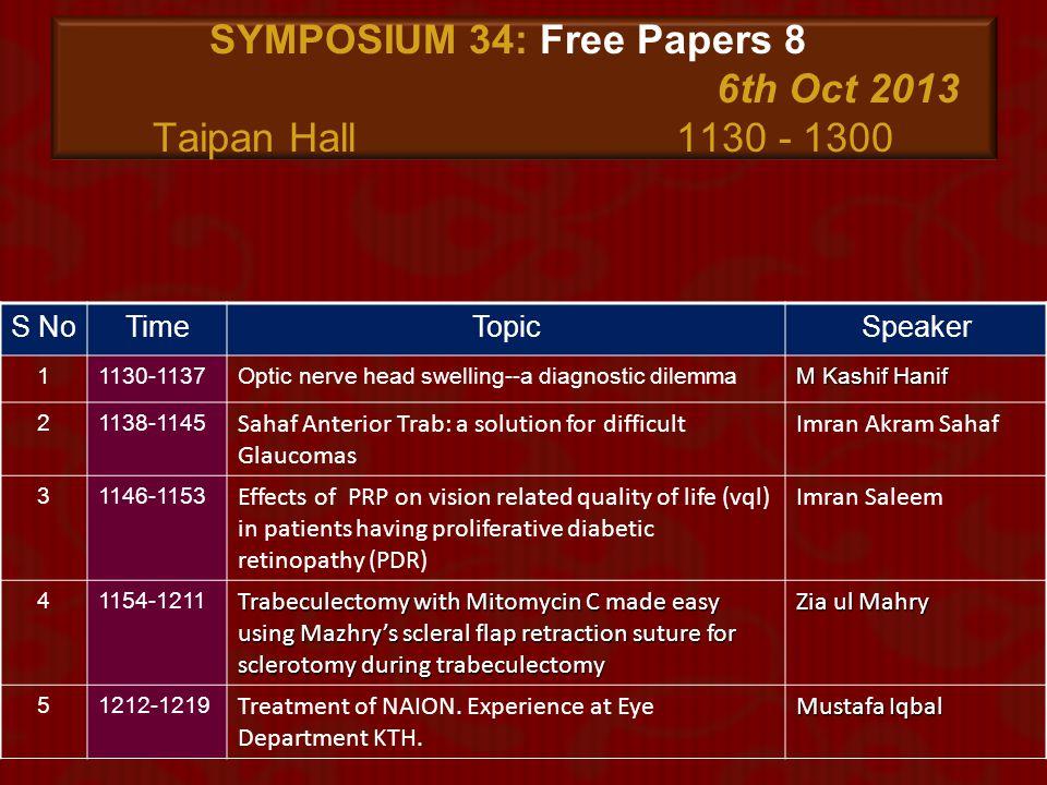 SYMPOSIUM 34: Free Papers 8 6th Oct 2013 Taipan Hall 1130 - 1300