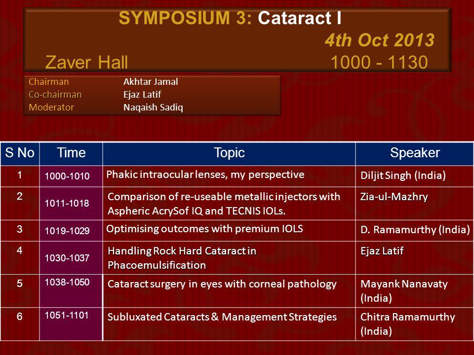 SYMPOSIUM 3: Cataract I 4th Oct 2013 Zaver Hall 1000 - 1130