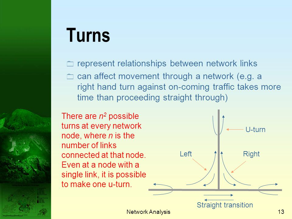 Turns represent relationships between network links