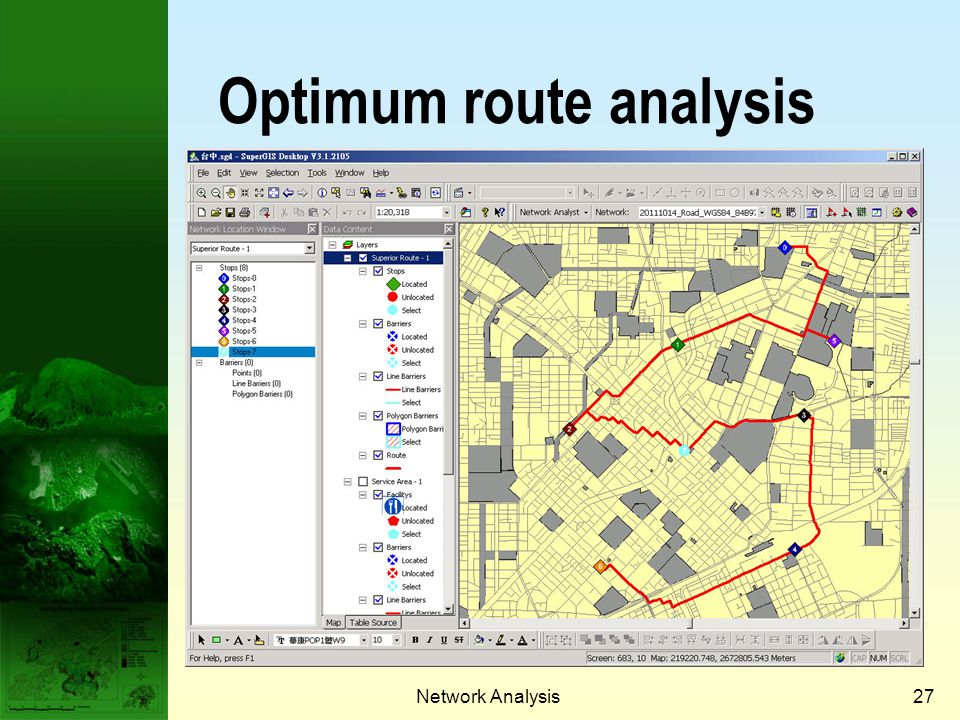 Optimum route analysis