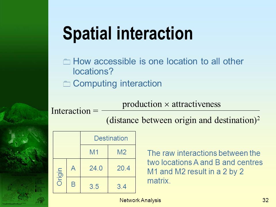 Prof. Qiming Zhou Spatial interaction. How accessible is one location to all other locations Computing interaction.