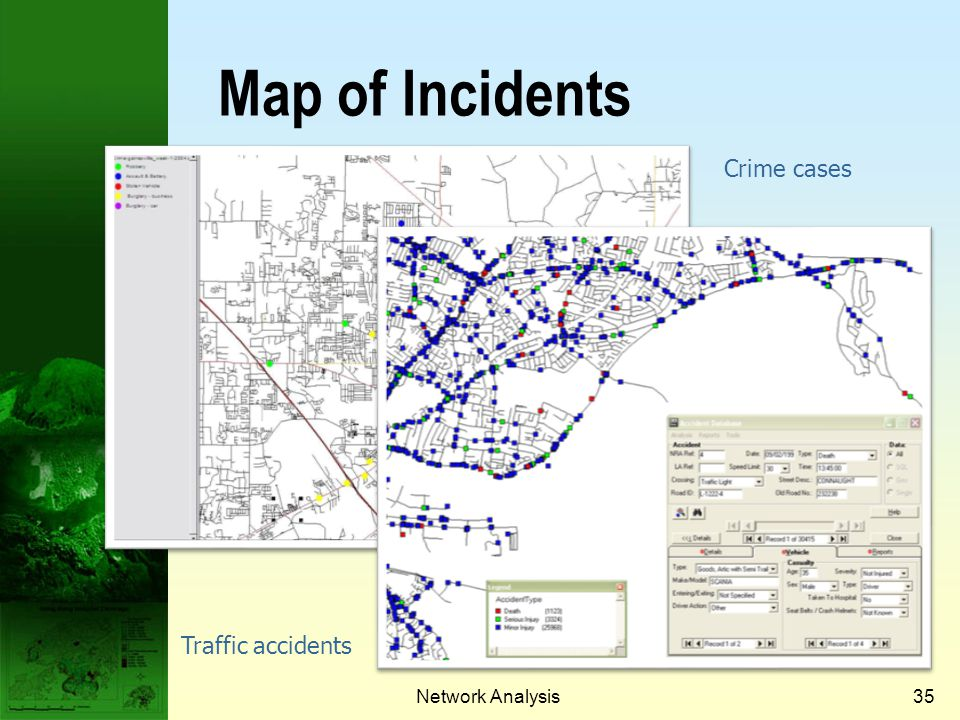 Map of Incidents Crime cases Traffic accidents Network Analysis