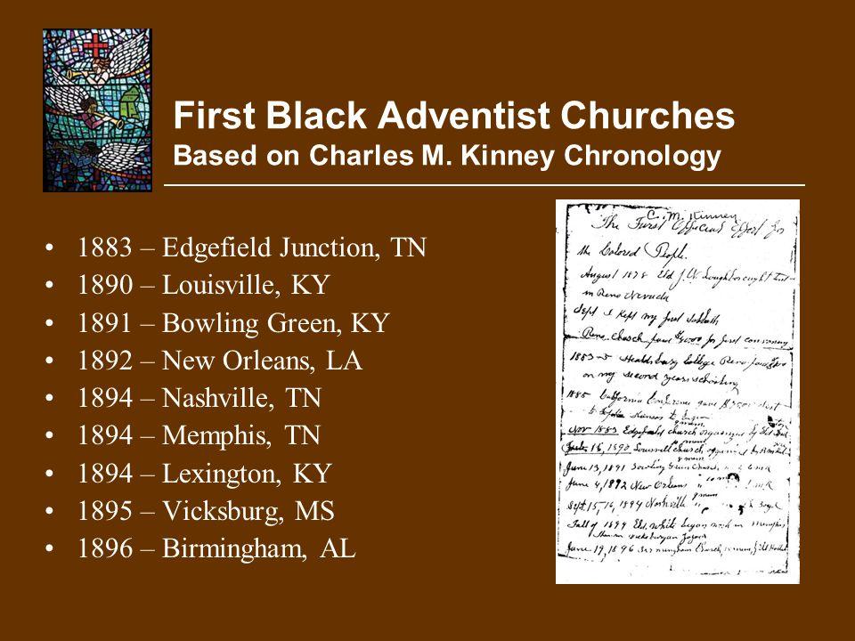 First Black Adventist Churches Based on Charles M. Kinney Chronology