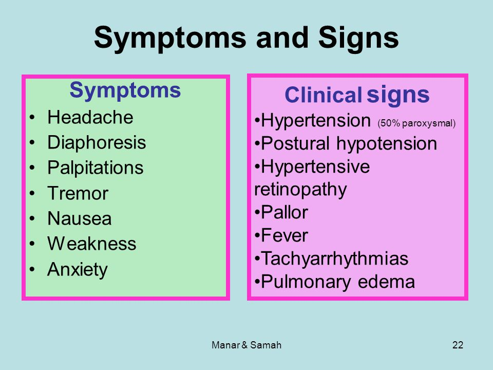 Symptoms and Signs Symptoms Clinical signs Headache Diaphoresis