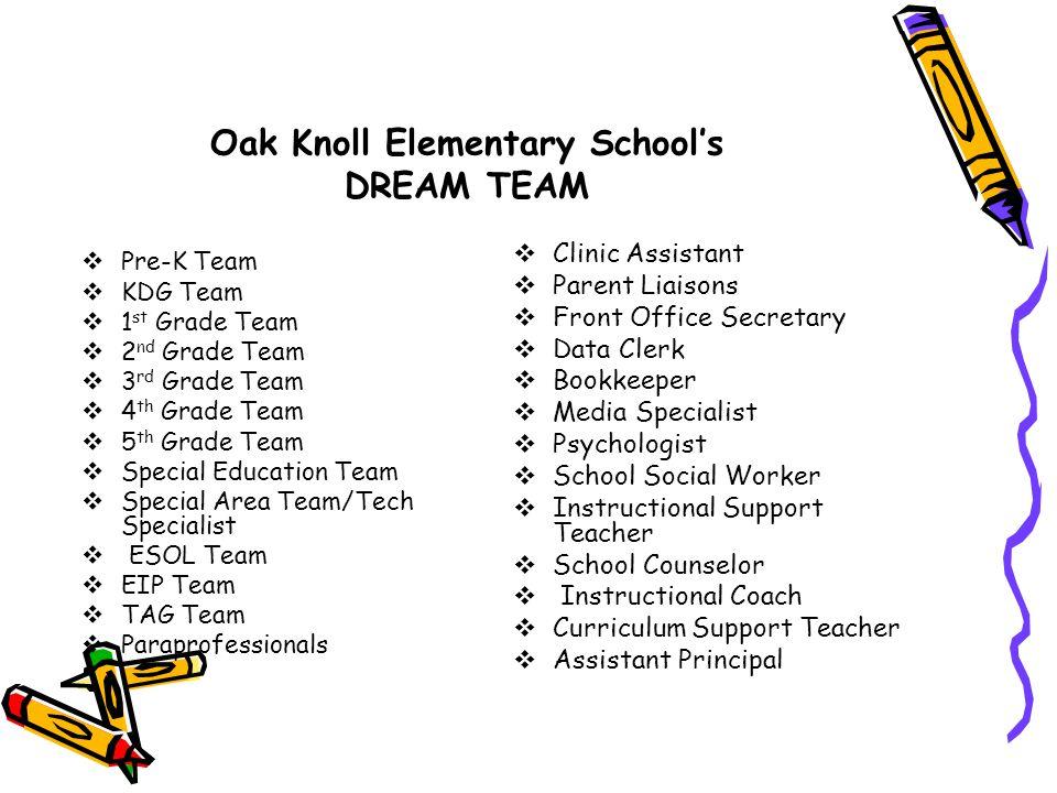 Oak Knoll Elementary School's DREAM TEAM