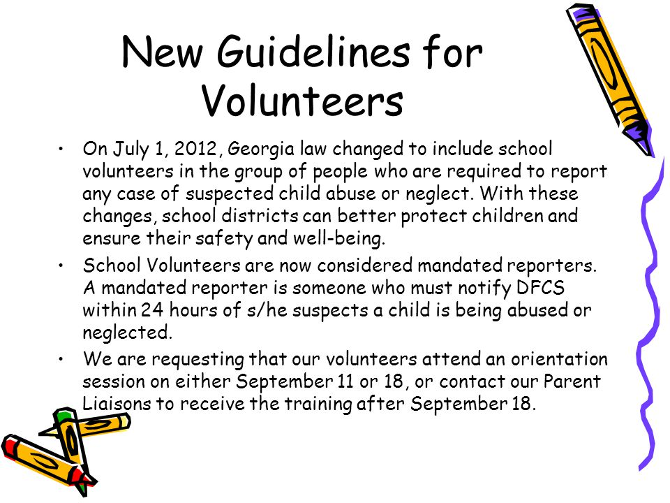 New Guidelines for Volunteers