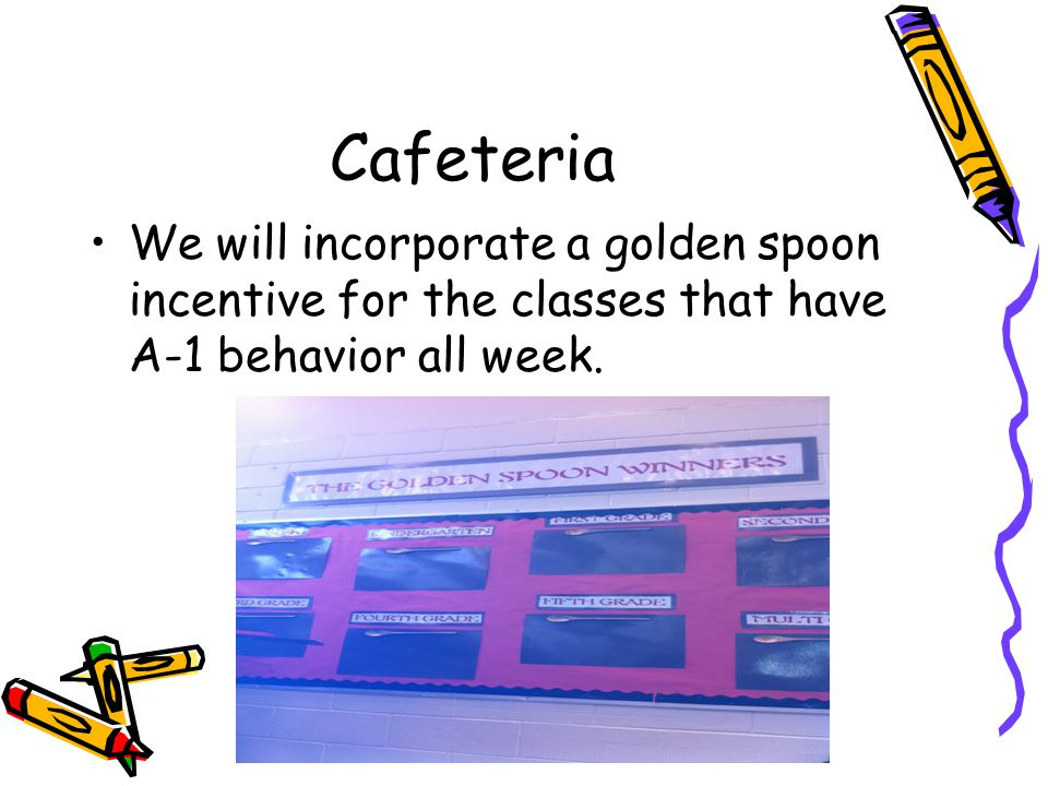 Cafeteria We will incorporate a golden spoon incentive for the classes that have A-1 behavior all week.