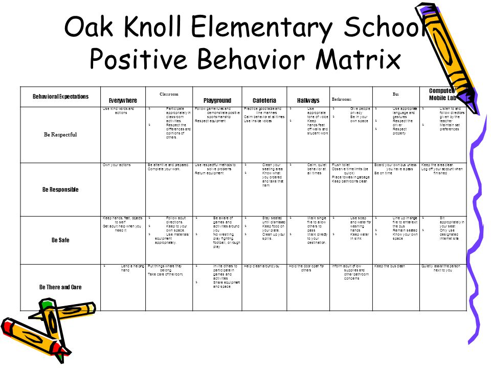 Oak Knoll Elementary School Positive Behavior Matrix