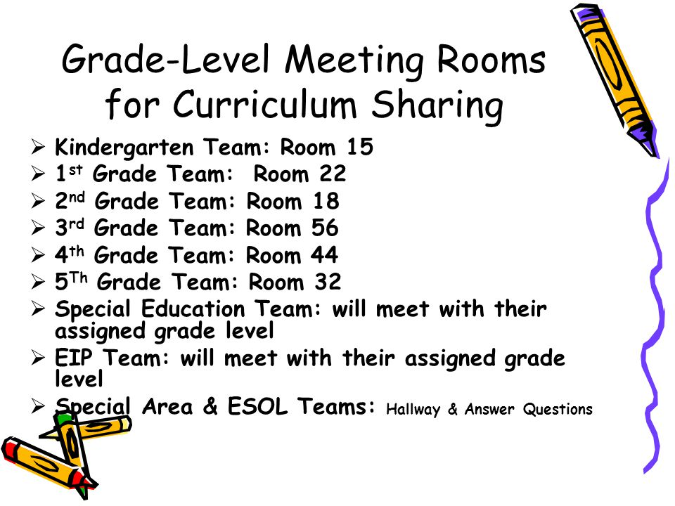 Grade-Level Meeting Rooms for Curriculum Sharing
