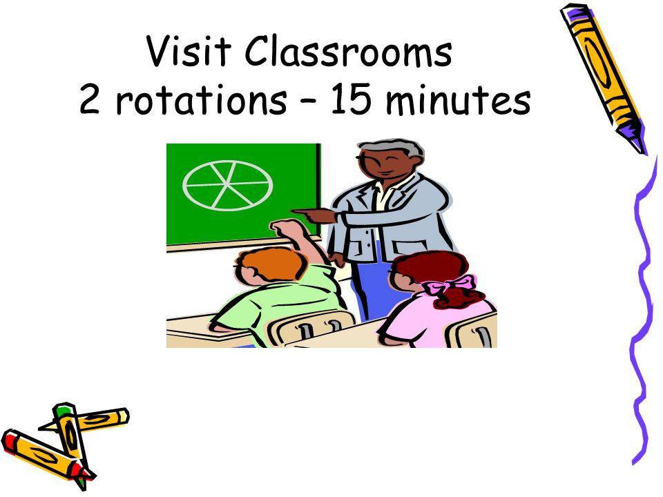 Visit Classrooms 2 rotations – 15 minutes