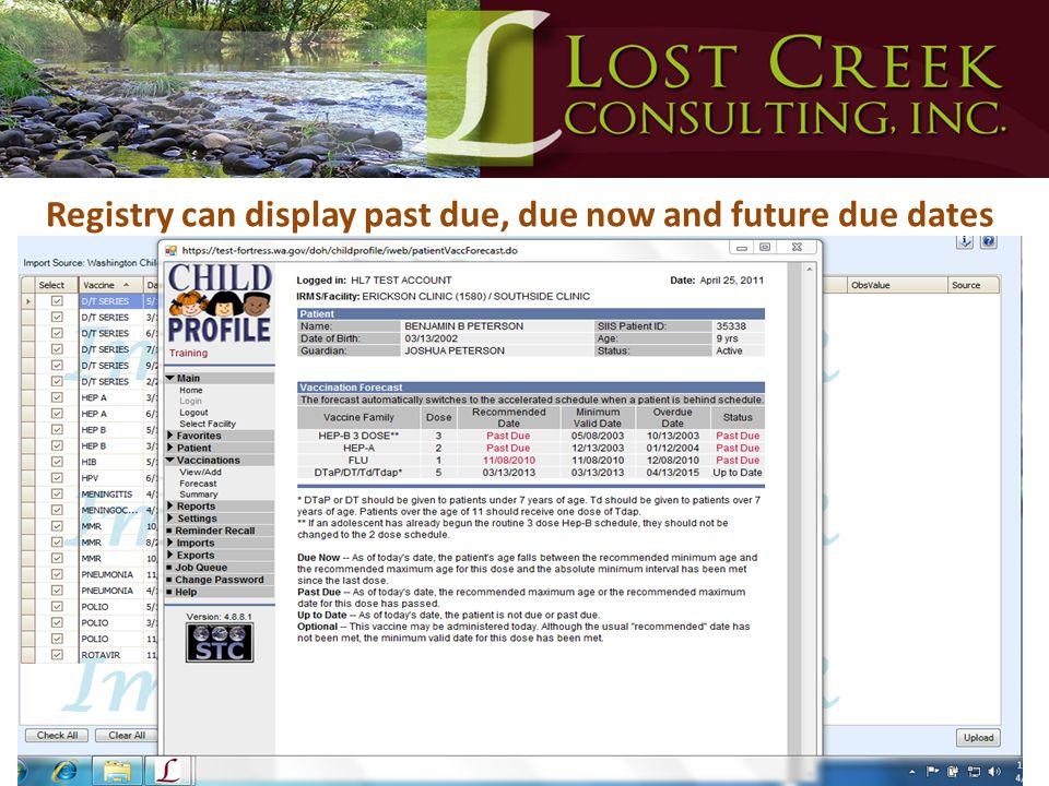 Registry can display past due, due now and future due dates